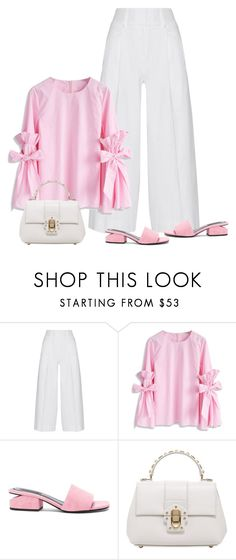 """pink & white"" by bodangela ❤ liked on Polyvore featuring Diane Von Furstenberg, Chicwish, Alexander Wang and Dolce&Gabbana"