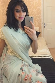 Beautiful mint green pearl saree from I don't actually know how the tutorial came out feel quite nervous lol 🌷🌷🌷 Traditional Fashion, Traditional Dresses, Indian Dresses, Indian Outfits, Beautiful Saree, Beautiful Dresses, Farewell Sarees, Ethnic Sarees, Indian Sarees