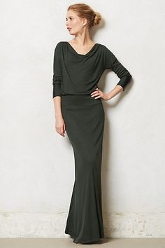 Cavatina Maxi Dress. Leather detail at sleeve hem.
