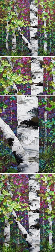 """Lovely Day"" 24""x24"" MELISSA MCKINNON Contemporary Abstract Landscape Artist features BIG COLOURFUL PAINTINGS of Aspen & Birch Trees, Rocky Mountains and stunning views of the Canadian prairies, big skies and ocean beaches. Western Art. (Detail Image of colourful autumn leaves, tree trunk and impasto paint texture)"