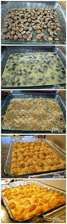 Tater Tot Breakfast Casserole Ingredients: 6 eggs 2 packages of 10 oz sausage links 1 cup milk 16 oz Tater tots 2 cups shredded cheese (we used a cheddar and jack mix) teaspoon of salt … Breakfast Desayunos, Breakfast Dishes, Breakfast Recipes, Breakfast Sausage Links, Dinner Recipes, Breakfast Ideas, I Love Food, Good Food, Yummy Food