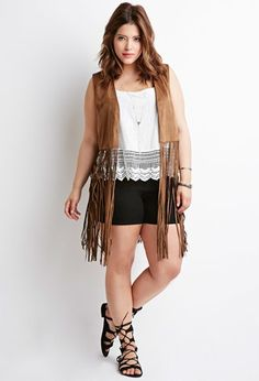 Fringed Faux Suede Vest | Forever 21 PLUS | #forever21plus