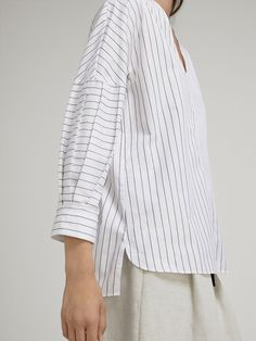 Striped cotton blouse with pleats - women - massimo dutti cotton blouses, s Sleeves Designs For Dresses, Sleeve Designs, Iranian Women Fashion, Korean Fashion, Cotton Blouses, Shirt Blouses, Women's Shirts, Tunic Sewing Patterns, Casual Outfits