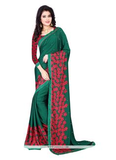 Unique elegance can come out through the dressing design with this green chiffon satin casual saree. You could see some interesting patterns completed with patch border work. Comes with matching blous...