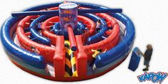 Kapow Obstacle course from Phantom Entertainment Inflatable Obstacle Course, Moon Bounce, Mechanical Bull, Grad Parties, Amusement Park, Fantasy World, Things That Bounce, Entertaining, Party