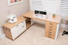Modern and modular, you'll experience sleek, solid, and expansive sewing at its finest with our EverSewn Loft Lux Living Working Station. The Lux Liv Sewing Desk, Sewing Cabinet, Sewing Tables, Small Sewing Rooms, Sewing Spaces, Sewing Room Design, Craft Room Design, Design Crafts, Sewing Room Organization