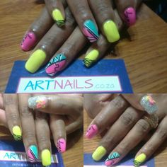 Neon pink neon yellow and silver glitter acrylic nails i did with art