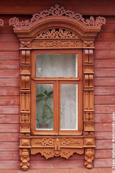 Russia wooden gingerbread architecture.  window.