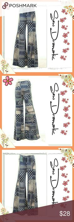 Unique Palazzo Denim Patchwork Flare Style Pants Gorgeous palazzo pants with lots of stretcha and super cozy! Faux denim flower print patchwork Squares.  Material is polyester spandex and have lots of stretch! Dress up or dress down!   Actual pants are just a little bit more blue see last picture  Pants run a tad long you can order a size down if you are shorter as the stretch on the fabric is wonderful! Ma Belle Boutique Pants Boot Cut & Flare