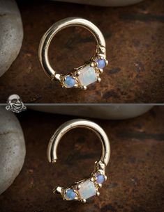 14K yellow gold horizontal princess clicker with opals i want my septum pierced just for thisssssss!!!!!