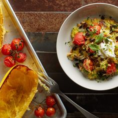"""Rather than pasta, serve the salty and spicy flavors of this classic Southern Italian dish with spaghetti squash """"noodles"""" for a delicious, hearty vegetarian dinner."""