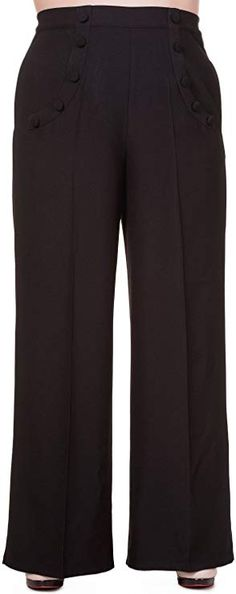 Black Banned Apparel Dancing Days Party On Wide Leg Trousers 50s Retro Swing