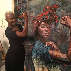 Today Rosie the Riveter is a white feminist symbol, but Japanese-British-Canadian artist Tim Okamura has reimagined her as a black woman wearing an African head wrap. Tico Armand served as a model for the shoot. African American Art, African Art, American History, Street Art, Rosie The Riveter, Canadian Artists, Black Art, Amazing Art, Amazing Photos