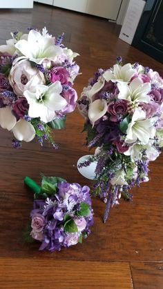 Bridal bouquet in lavender and shades of purple from Hen House Designs www.henhousedesigns.net