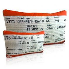 Ticket Cushion - Personalised with your Journey Details - British Made