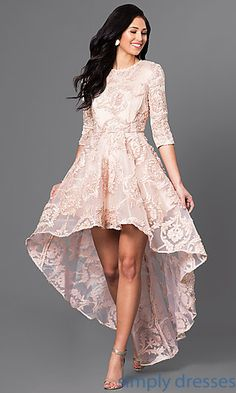 Shop 3/4 long-sleeved dresses and lace high-low dresses at Simply Dresses. Sweet-16 dresses, wedding-guest dresses and homecoming…