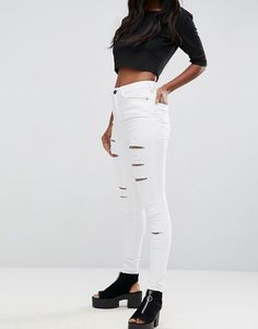 ASOS RIDLEY High Waist Skinny Jeans in Optic White with Shredded Rips