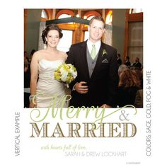 Merry and Married Digital Holiday Photo Card by KateOGroup on Etsy