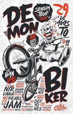 Saved by Inspirationde (inspirationde) on Designspiration Discover more Typography Demon Biker inspiration. Poster Design, Design Art, Print Design, Type Design, Design Graphique, Art Graphique, Graphic Design Illustration, Graphic Art, Doodle Art