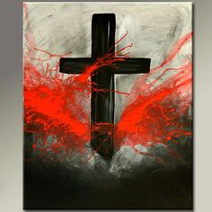 Cross Paintings On Canvas | Canvas Art Painting - 18x24 Contemporary Modern Original Cross Art ...