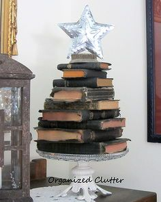 bible christmas tree, christmas decorations, repurposing upcycling, seasonal holiday d cor, A stacked and staggered Bible Christmas tree