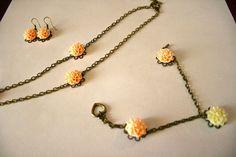 Resin Flower Set Necklace Bracelet Earrings by TKDShop on Etsy, $29.99