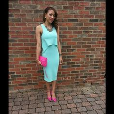 http://frecklesfashionandflaws.com/ mint and fuschia wedding guest.
