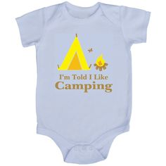 Rocket Bug 'I'm Told I Like Camping' Baby Bodysuit (0-3m), Kids Unisex