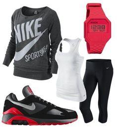 Nike shoes Nike roshe Nike Air Max Nike free run Nike USD. Nike Nike Nike love love love~~~want want want! Moda Outfits, Sport Outfits, Casual Outfits, Cute Outfits, Running Outfits, Hiking Outfits, Workout Attire, Workout Wear, Nike Workout Outfits