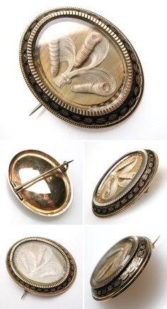 Various views of a Victorian Era Mourning pin