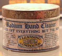Radium skin cleaner, 'takes everything off but the skin'.