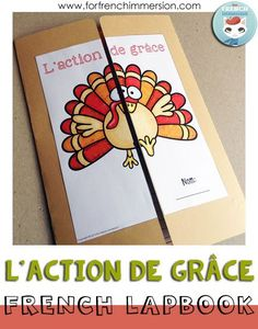 """Teaching French in the US? Check out this Thanksgiving Lapbook en français! Fun and engaging activities that will get your students to practice Thanksgiving vocabulary in addition to saying """"thanks!"""" for a list of things. """"Lapbook"""" pour l'Action de Grâce (en français)"""