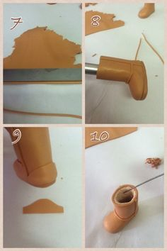 Ugg boots tutorial - Part 2 / 3 Cute Polymer Clay, Polymer Clay Dolls, Polymer Clay Miniatures, Polymer Clay Projects, Fondant Decorations, Fondant Tutorial, Sugar Craft, Clay Figures, Clay Tutorials