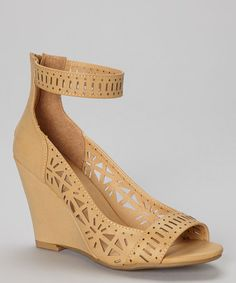 $19.99 (This Event ends in 2 - Days, 23 hours) Another great find on #zulily! Camel Cutout Melrose Peep-Toe Wedge http://www.zulily.com/?SSAID=930758&tid=acceleration_930758 #zulilyfinds