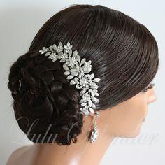 Wedding Hairpiece Leaf Bridal Hair Comb Leaf Comb Swarovski Crystal Vintage Wedding Hair Accessory LEAFY SABINE