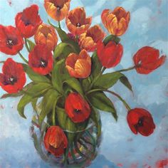 Passion Tulips - thick gallery wrap canvas 36x36 - Original Fine Art for Sale - © by Krista Eaton