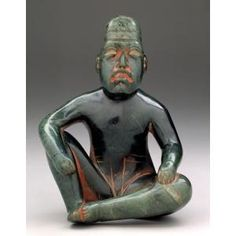 """ancientpeoples: """" Seated ruler in ritual pose Olmec culture (highlands), San Martín Texmelucan, Mexico c. Serpentine and cinnabar """" About 900 B., jadeite and other varieties of. Historical Artifacts, Ancient Artifacts, Parthian Empire, Colombian Culture, Mexica, Inca, Way Of Life, Antique Art, Middle Ages"""