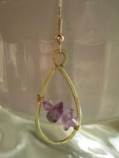 Hand made hammered brass teardrop dangle earring with semi-precious stone beads and Swarovski Crystal. These beads are a beautiful combination of purple and violet.  I think these are my new favorite earrings!  The drop from the gold plated French ear wire is 1.5 inches long.