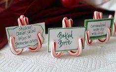 Use mini candy canes for your Christmas party food labels or name table setting. Christmas Place, Christmas Party Food, Christmas Hacks, Easy Christmas Crafts, Christmas Party Decorations, Christmas Centerpieces, Christmas Candy, Simple Christmas, Christmas Holidays