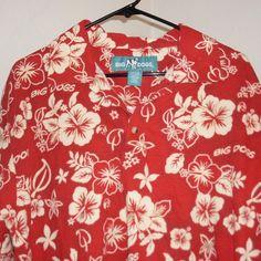 Big Dogs Hawaiian Shirt M Medium Cotton Pullover Red Hibiscus #BigDogs #Hawaiian