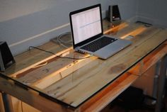 how to build a desk from wooden pallets DIY pallet desk glass work top                                                                                                                                                                                 More