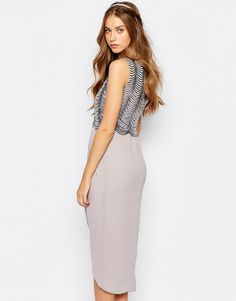 TFNC WEDDING Sequin Midi Dress with Open Back