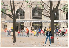 by Konstantin Kakanias Depicting walking and cafe society in Paris.