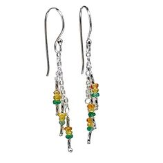 Yellow and Green Multi-colored Sapphire and Sterling Silver Dangle Earrings | leannefdesigns