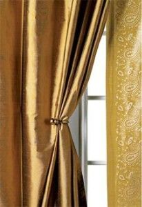 Gold curtains for my bedroom windows Silk Curtains, Drapery Fabric, Gold Rooms, Bedroom Windows, Shades Blinds, Formal Living Rooms, Wall Treatments, Dining Room, Decorating Ideas