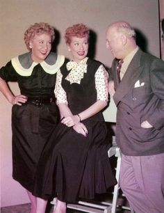 "Vivian Vance and William Frawley with Lucille. | 25 Rare Photos Of ""I Love Lucy"" In Color"