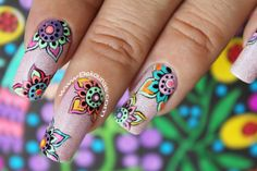 Decoración de uñas mandala Cute Acrylic Nails, Cute Nails, Shellac Nails, My Nails, Mandala Nails, Plain Nails, Sassy Nails, Autumn Nails, Stamping Plates