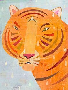 """""""Raindrop Tiger"""" Animal Canvas Wall Art by Melanie Mikecz for Oopsy Daisy 10x14 $59 and 18x24 $119"""