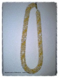 Tri coloured netted crystal necklace