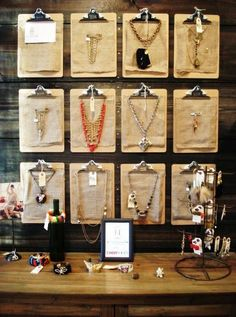 Winter Vegas Market Retail Design idea - clipboards as display ***great for future store displays!***